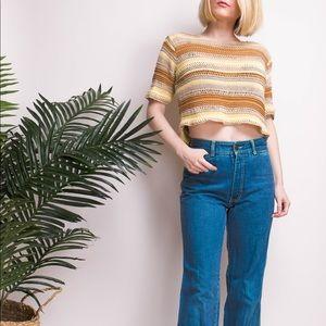 Vintage 90s linen striped loose knit crop top